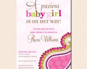 Precious Pink Paisley - Baby Shower Invitation (Digital File OR Printed Cardstock Cards Also Available)