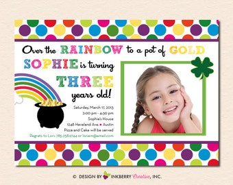 Rainbow Pot of Gold  - Birthday Party Invitation (Digital File - Printed Cards Also Available)