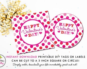 Pink and Red Polka Dots Valentine's Day Tag - Instant Download, Printable 3 inch Square Valentine Stickers or Tags