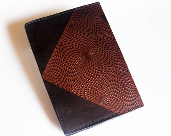 Leather Top-Stub Checkbook Cover with Kaleidoscope Design - Leather Checkbook Holder