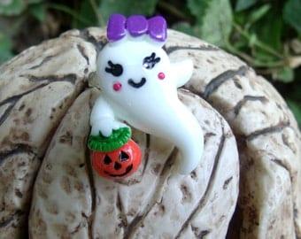 Kawaii Pastel Goth Ghost Ring