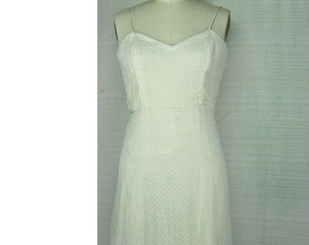 Vintage Polka Dot Dress White Peach Spaghetti Strap
