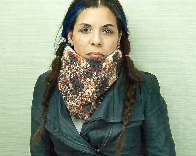 Brown and Rust Scarf Tube Circle Cowl