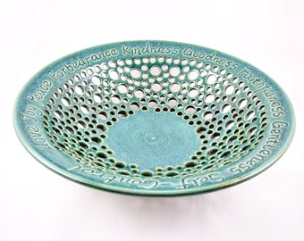 Pottery Wedding Gift - 9th anniversary gift, Anniversary, Commitment Ceremony, teal blue - IN STOCK WB114I