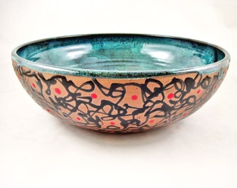 Large serving bowl, pottery bowl, Modern ceramics, blue wedding gift - In stock (A-S1)