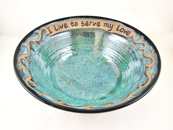 Pottery wedding gift, handmade pottery bowl, 9th Anniversary gift - In stock WB019B