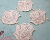 4 Pieces of Embroidered Ivory Color Rose Iron on Patches Free shipping