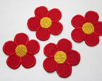 4 Pieces of Embroidered Red/ Pink Flowers Iron On Patches Free Shipping