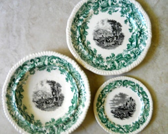 Antique Copeland Spode Green Plates and Bowl Set, with Gadroon Edge - Wonderful Transferware Gift -