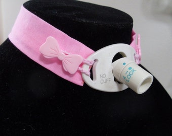 REDUCED PRICE - Pink trach tie - pink bow buttons - custom neck size -