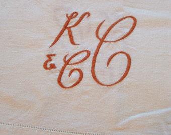 Tablecloth K & C C Monogram, vintage linen, medium size, mid century