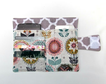 Cellphone iPhone or iPod Wallet,Cellphone Case, Business Card organizer, Loyalty card wallet, Gift Card Holder Sophia Flower  Ready to Ship