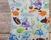 Ocean  burp cloth set with blue chenille
