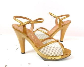 Vintage 80s Heels   1980s Nina Leather Strappy Heels 6.5M   Summer Shoes   Disco Shoes