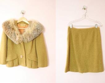 1950s I.Magnin Fox Trimmed Wool Suit S