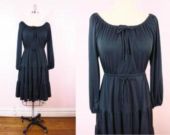 Vintage Black Dress | 1970s Black Peasant Dress Size M/L | 70s Boho Gypsy Hippie Festivial Dress