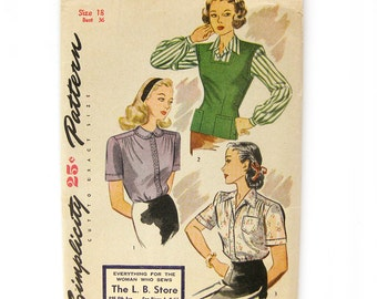 1940s Vintage Sewing Pattern - Simplicity 1089 - Misses' and Women's Blouse and Side-button Jerkin / Size 18 UNCUT FF