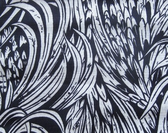 Vintage Linen Fabric Feather Design in Navy and White California Hand Print