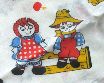 Vintage Novelty Child Print Fabric - Raggedy Anne and Andy-ish in Gingham - Cotton Yardage