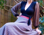 Red Grey Women's Skirt, Full Circle, High Fitted Waist, Printed, Silk Rayon, Long, Made in Australia, Custom Made to Order.