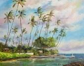 WAILUPE HAWAII XLarge 28x22 Original Oil Painting Art Beach Park Peninsula Pier Dock Palm Trees Oahu Ocean Island Paradise Hawaiian Surf