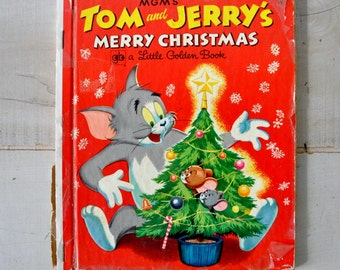 vintage little golden book / MGM Tom and Jerrys Merry Christmas / Christmas gift / childs gift / 50s vintage book