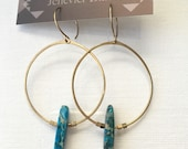 Blue Jasper Hoop Earrings