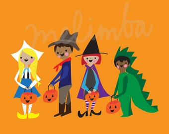 COSTUME PARADE illustration art print, trick or treaters, halloween art print