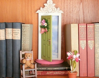 Fairy Door or Tooth Fairy Door, Closer to Heaven, opens outward with sky inside, in green and pink, architectural detail and handmade wreath