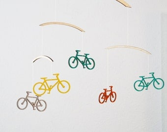 Bicycle Mobile - Wooden Mobile - Nursery Mobile - Bike Mobile