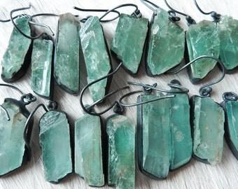 SEMI-ANNUAL SALE Raw aquamarine earrings | Aquamarine crystal earrings | Rough aquamarine earrings | Birthstone earrings | Aquamarine Dangle