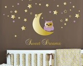 Owl Wall Decal, Owl Moon and Stars Wall Decal for Nursery Baby Room, Moon and Stars Wall Decal, Sweet Dreams Vinyl Lettering, Owl Sticker