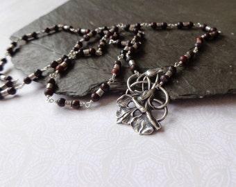 Long jasper necklace with art deco floral pendant