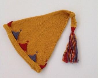 Little Mustard Ochre Amber Knitted Pixie Hat Newborn Baby Size Cotton Vegan Photo Prop