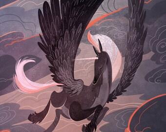 Stormy Sunset Pegasus 12x18 in art poster