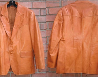 SALE -- BOSS of the WEST: Vintage 1980s Genuine Leather Blazer / Jacket, Iron Oxide; Designed & Crafted by Siam Bootery, Bangkok Thailand