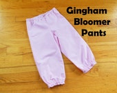 Gingham Bloomer Pants Pantaloons for Baby or Toddler Girls in YOUR CHOICE of cotton gingham colors - 6 months to size 8