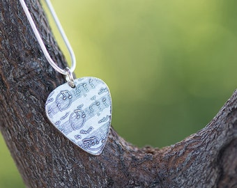 Men's Guitar Pick Pendant - Fine Silver