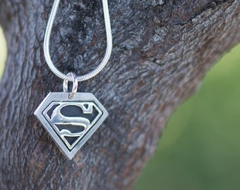 Superman Superwoman Unisex Silver Charm - Diamond shape