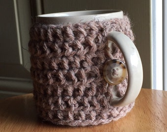 Crocheted mug cozy cup cozy in mushroom taupe