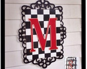 Custom Wood Initial Wall Plaque Sign harlequin scrollwork scroll border any colors any letters whimsical sign