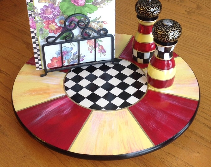 Painted Lazy Susan // Painted Turntable // Whimsical Painted Lazy Susan
