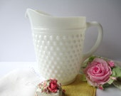 Large Classic Vintage Milk Glass Hobnail Pitcher