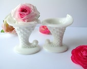 Fenton Milk Glass Hobnail Mini Cornucopia Candleholder Pair