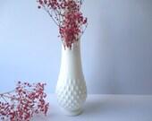Vintage Fenton Milk Glass Hobnail Footed Swung Vase