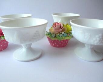 Vintage Milk Glass Sherbets Indiana Harvest Set of Four - Cottage Chic Weddings Bridal