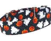 """1.5"""" wide Halloween Martingale Dog Collar with PUMPKINS and GHOSTS Fabric Wrapped Collar All Hallows Eve Collar"""