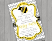 Mommie to Bee Baby Shower Invitations Invite You Print Personalized Chevron Polka dot Ribbon Customized 5x7 or 4x6