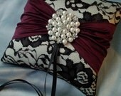 Ivory Black Wine Ring Bearer Pillow Lace Ring Pillow Pearl Rhinestone Accent