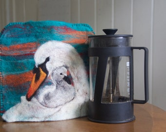 Coffee Press Pot French Press Cozy Cover Needle Felted Swan and Baby Signet